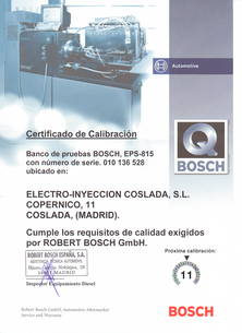 Certificado de calibración Bosch