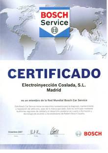 Certificado Bosch Car Service