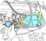 Comprobación de la medida de puesta a punto sobre la bomba de inyección.